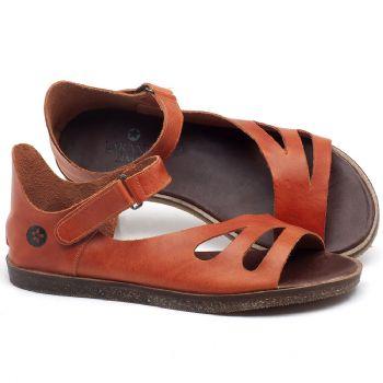 Rasteira Flat em couro laranja - CÓDIGO - 141054