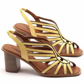 Sandália Salto médio de 6cm em couro em couro amarelo - Código - 3538