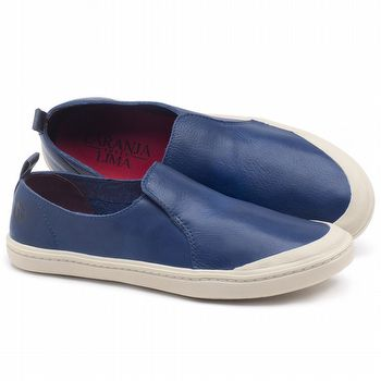 Tênis Cano Baixo em couro Azul Bic - Código - 141050