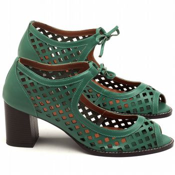 Sandália Salto médio de 6cm em couro verde - Código - 3582