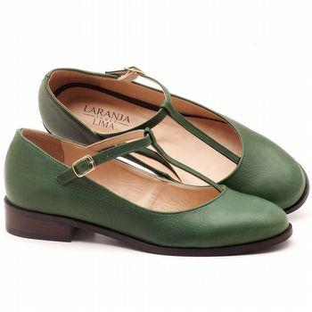Oxford Flat boneca em couro verde militar - Código - 9434