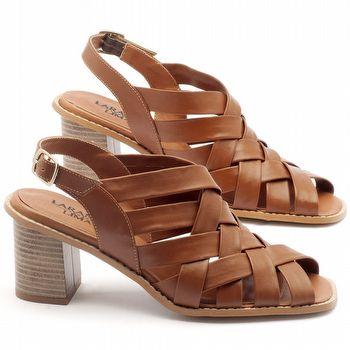 Sandália Salto médio de 7cm em couro havana  3544