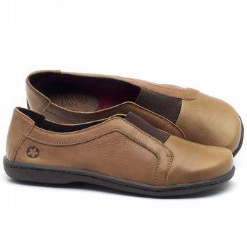 Flat Shoes em couro Conhaque - Código - 56087
