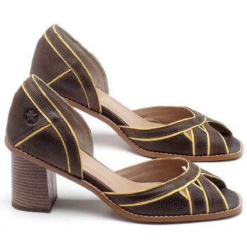 Sandália Salto Médio de 6cm em couro Café com Amarelo - Código - 3489