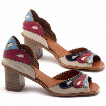 Sandália Salto médio de 7cm em couro colorido - Código - 3539
