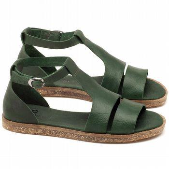 Rasteira Flat em couro verde - Código 141058