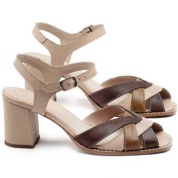 Sandália Salto Médio de 6cm em couro Bege e Marrom - Código - 3667