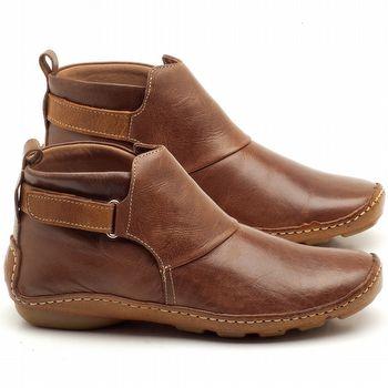 Flat Boot em couro caramelo - Código - 136031