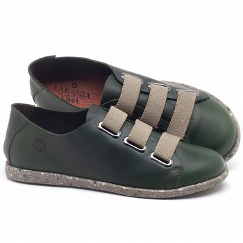 Tênis Cano Baixo em couro Verde Militar - Código - 137226