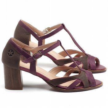 Sandália Salto Médio de 6cm em couro Açaí com Marrom - Código - 3698