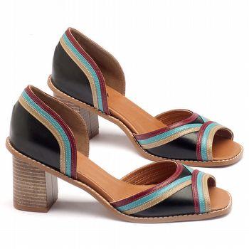 Sandália Salto medio de 6cm em couro - Código - 3490