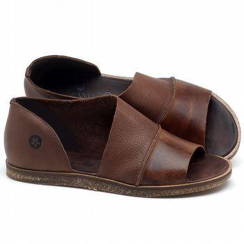Rasteira Flat em couro marrom tan - Código - 141055