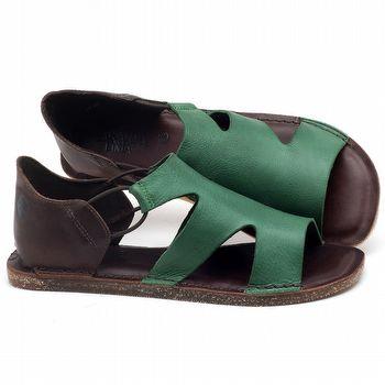 Rasteira Flat em couro Verde Folha - Código - 141094