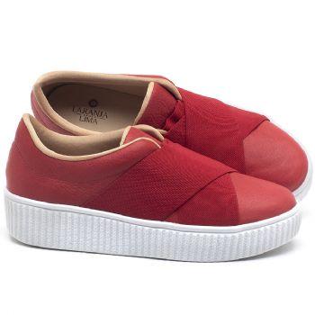 Tênis Cano Baixo em couro Vermelho - Código - 9448
