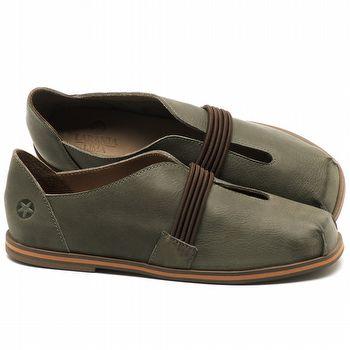 Flat Shoes em couro Verde Musgo - Código - 3053