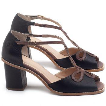 Sandália Salto Médio de 6cm em couro Preto - Código - 3598