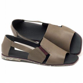 Rasteira Flat em couro cinza musgo - Código - 145012