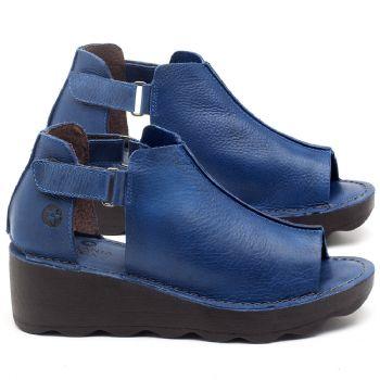 Anabela Tratorada com salto de 5cm em couro azul - Código - 141007