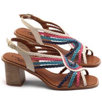 Sandália Salto Médio de 6cm colorida - Código - 3547