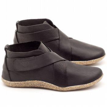 Flat Boot em couro Preto - Código - 145032