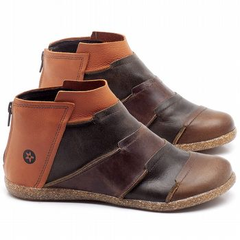 Flat Boot em couro Laranja, Oliva e Marrom Telha - Código - 137145