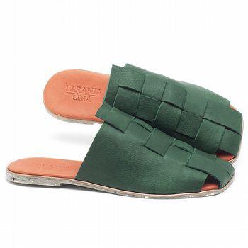 Rasteira Flat em couro Verde Militar - Código - 145037