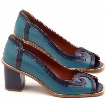Peep Toe Salto Medio de 6cm em couro azul e vinho - Código - 3579