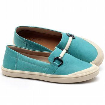 Tênis Cano Baixo em couro Azul Piscina - Código - 56184