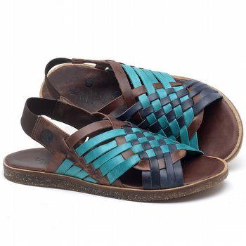 Rasteira Flat em couro Azul Com Telha - Código - 141092