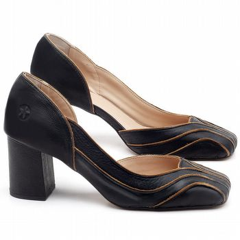 Sandália Salto Médio de 6cm em couro Preto - Código - 3604