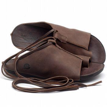Rasteira Flat em couro marrom - CÓDIGO - 137200