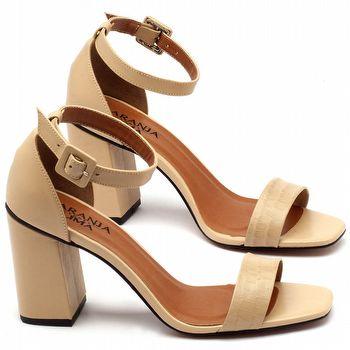 Sandália Salto alto de 9cm em couro bege - Código - 3554