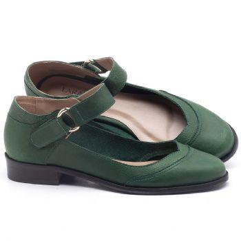 Oxford com salto de 2cm em couro Verde Militar - Código - 9400