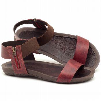 Rasteira Flat em couro vermelho bordô - Código - 56141