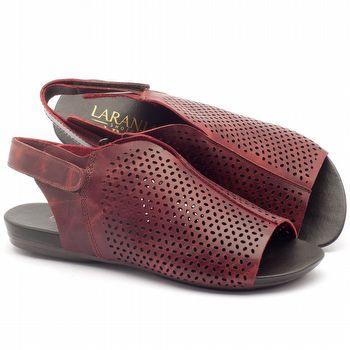 Rasteira Flat em couro vermelho - Código - 137126