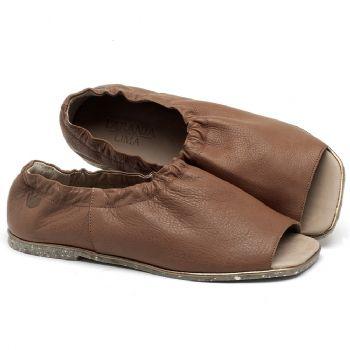Rasteira Flat em couro marrom - CÓDIGO - 145038
