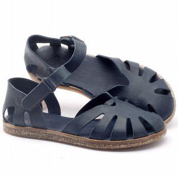 Rasteira Flat em couro marinho - Código - 141017