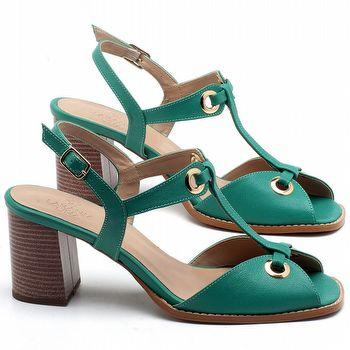 Sandália Salto Médio de 6cm em couro Verde Hortelã - Código - 3660