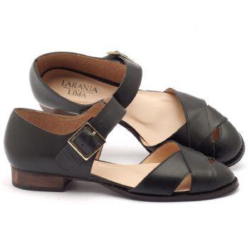 Sandália Salto em couro preto - Código - 9424