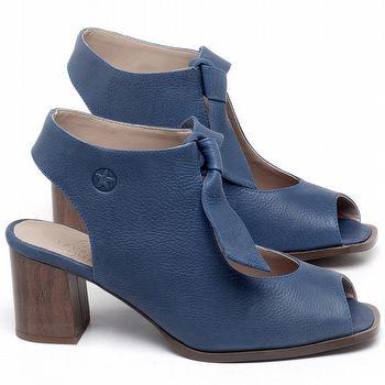 Sandália Salto Médio de 6cm em couro Azul Bic - Código - 3688