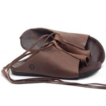 Rasteira Flat em couro Marrom Tan com Telha - Código - 137180