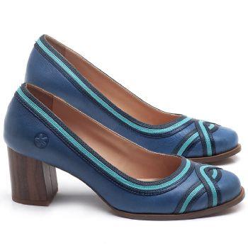 Scarpin Salto Médio de 6cm em couro Azul - Código - 3672