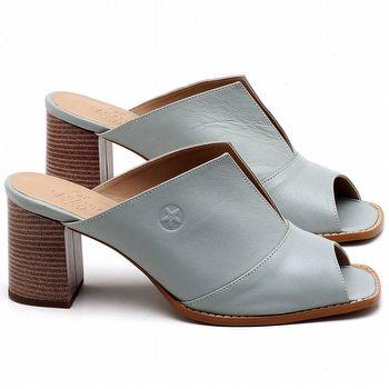 Sandália Salto Médio de 6cm em couro Azul Claro - Código - 3659