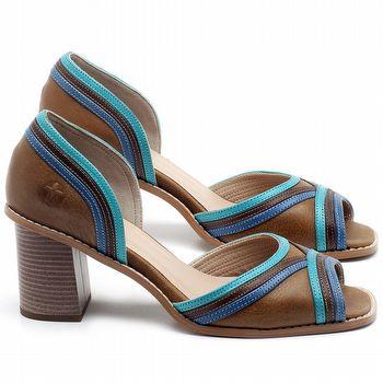 Sandália Salto Médio de 6cm em couro Marrom com Azul - Código - 3645