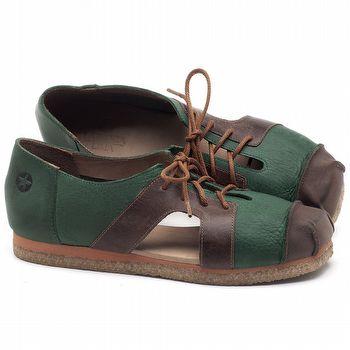 Flat Shoes em couro Verde Militar com Marrom Telha - Código - 3054