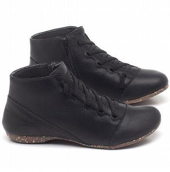 Flat Boot em couro Preto - Código - 148023