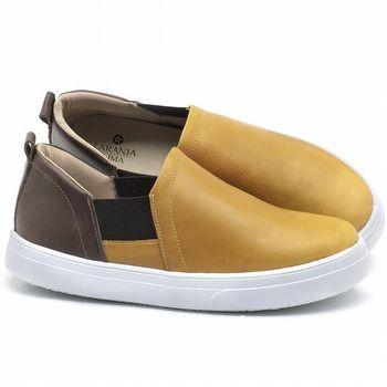 Tênis Cano Baixo em couro Amarelo com Marrom Telha - Código - 9447