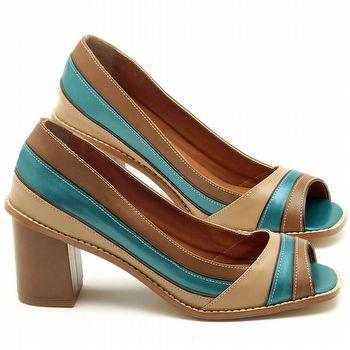 Peep Toe Salto Medio de 6cm em couro bege com azul metalizado - Código - 3576