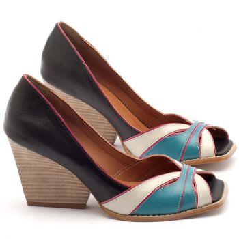 Peep Toe Salto Medio de 6cm em couro preto, off, turquesa e pink - Código - 3550