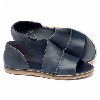 Rasteira Flat em couro azul marinho 141018